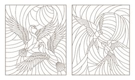 Contour set with illustrations of stained glass birds, pair of swans and a pair of swallows in sky on background sun. Set contour illustrations of stained glass Royalty Free Stock Image