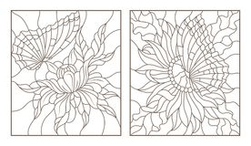 Contour set with illustrations of the stained glass with butterflies and flowers,black contour on white background Stock Image
