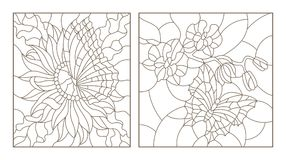 Contour set with illustrations of the stained glass with butterflies and flowers, Orchid and Aster butterfly, black contour on whi. Set contour illustrations of stock illustration