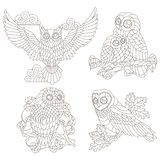 Contour set with illustrations of stained glass elements with owls sitting on tree branches, dark contours on a white background. Set of contour illustrations of vector illustration