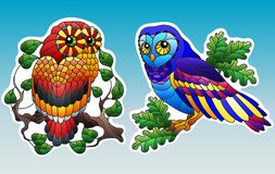 Stained glass illustration with set of elements with owls sitting on tree branches, owls and branches with leaves isolated on sk. Set of contour illustrations of royalty free illustration