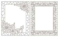 Contour set with illustrations of stained glass with floral framework,dark outlines on white background royalty free illustration