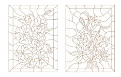 Set contour illustrations of stained glass with flowers Stock Photo