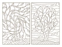 Contour set with  illustrations of stained glass with the image of the trees Royalty Free Stock Photo