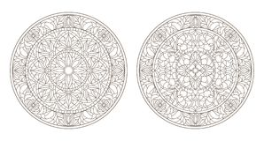 Contour set with  illustrations of stained glass, round stained glass floral, dark outline on a white background Royalty Free Stock Photo