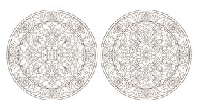 Contour set with  illustrations of stained glass, round stained glass floral, dark outline on a white background. Set contour illustrations of stained glass Royalty Free Stock Photos