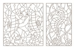 Contour set with  illustrations of stained glass with sea horses on a background of seaweed, dark outline on a white phone Royalty Free Stock Photography