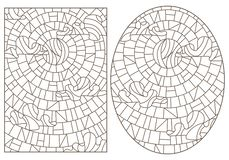 Contour set with   illustrations in stained glass style with abstract celestial landscapes, dark contours on white background. Set of contour illustrations in stock illustration