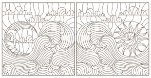 Contour set with illustrations in stained glass style abstract landscape, the sun and the moon in the sky and the sea , white b. Set contour illustrations in vector illustration