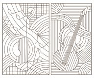 Contour set with illustrations in stained glass style with abstract musical instruments, dark contours on white background. Set of contour illustrations in stock illustration