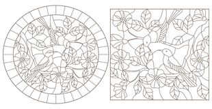 Contour set with  illustrations in stained glass style with birds on the branches of a flowering plant, dark contours on a white b. Set of contour illustrations vector illustration