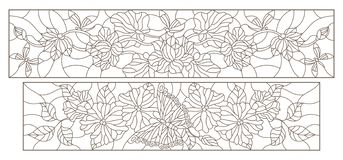 Contour set with illustrations in stained-glass style with flowers, butterflies and dragonflies, horizontal images, dark contours. Set of contour illustrations Stock Illustration
