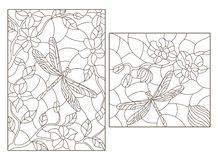 Contour set with illustrations in stained glass style with flowers and dragonflies, dark outlines on white background. Set of contour illustrations in stained Vector Illustration