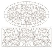 Contour set with illustrations in stained glass style with grape framed, oval and rectangular images, dark contours on white ba. Set of contour illustrations in royalty free illustration
