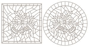 Contour set with illustrations in stained glass style for the New year and Christmas, bells, Holly branches and ribbons in the fra Royalty Free Illustration