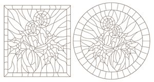 Contour set with illustrations in stained glass style for the New year and Christmas, candles, Holly branches and ribbons in the f. Set of contour illustrations stock illustration