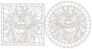 Contour set with illustrations in stained glass style for the New year and Christmas, Christmas decorations, Holly branches and r. Set of contour illustrations vector illustration