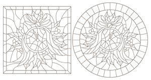 Contour set with illustrations in stained glass style for the New year and Christmas, clock, Holly branches and ribbons in the fr. Set of contour illustrations vector illustration
