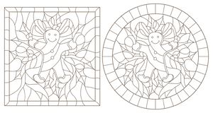 Contour set with illustrations in stained glass style for the New year and Christmas, ginger man, Holly branches and ribbons in th. Set of contour illustrations royalty free illustration