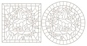 Contour set with illustrations in stained glass style for the New year and Christmas,plush dog toy, Holly branches and ribbons in. Set of contour illustrations royalty free illustration