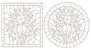 Contour set with illustrations in stained glass style for the New year and Christmas, plush moose, Holly branches and ribbons in t. Set of contour illustrations royalty free illustration