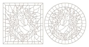 Contour set with illustrations in stained glass style for the New year and Christmas, snowman, Holly branches and ribbons in the f. Set of contour illustrations vector illustration