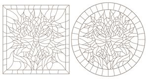 Contour set with illustrations in stained glass style for the New year and Christmas, striped candy, Holly branches and ribbons i. Set of contour illustrations vector illustration