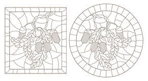Contour set with illustrations in stained glass style with oak branch, acorns and leaves on a background in a frame, round and rec. Set of contour illustrations vector illustration