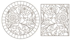 Contour set with  illustrations in the stained glass style snail and flower, dark outline on a white background. Set contour illustrations in the stained glass royalty free illustration