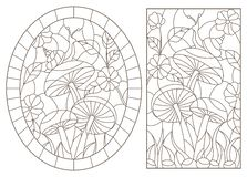 Contour set with illustrations in the stained glass style snail on mushroom, dark outline on a white background. Set contour illustrations in the stained glass vector illustration