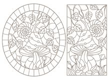 Contour set with  illustrations in the stained glass style snail on mushroom, dark outline on a white background. Set contour illustrations in the stained glass royalty free illustration