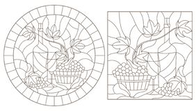 Contour set with  illustrations in stained glass style with still lifes , a bottle of wine and fruit, dark contours on a white bac. Set of contour illustrations stock illustration