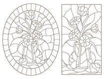 Contour set with  illustrations in stained glass style with still lifes , a bouquet of flowers and fruits , dark contours on a whi. Set of contour illustrations stock illustration