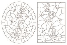 Contour set with  illustrations in stained glass style with still lifes , a bouquet of orchids and fruits , dark contours on a whi. A set of contour royalty free illustration