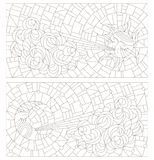 Set contour illustrations in the stained glass style sun and moon on the background of sky and clouds. A set of contour stained-glass illustrations with the sun Royalty Free Stock Photography
