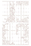 Set contour illustrations in the stained glass style window with floral pattern Stock Images
