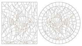 Contour set with  illustrations of stained glass Windows with angelfish fishes on the background of the seabed and algae, dark con. Set of contour illustrations stock illustration