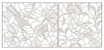 Contour set with illustrations of stained-glass windows with birds against branches of a tree and leaves , dark contours on a wh. Set of contour illustrations of vector illustration