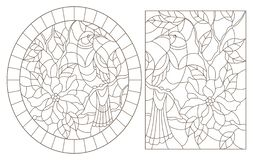 Contour set with  illustrations of stained glass Windows with birds and flowers, dark contours on a white background. A set of contour illustrations of stained royalty free illustration