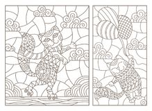 Contour set with  illustrations of stained glass Windows with cartoon funny cats, a cat flying on a balloon and a cat on roller sk. A set of contour Royalty Free Stock Photos
