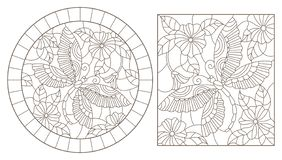 Contour set with illustrations of stained glass Windows with dragonflys and flowers, round and rectangular images. A set of contour illustrations of stained stock illustration