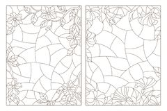 Contour set with illustrations of stained glass Windows with floral backgrounds, dark contours on a white background. Set of contour illustrations of stained royalty free illustration