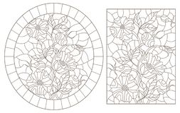 Contour set with  illustrations of stained glass Windows with flowers and berries of rose hips, dark contours on a white backgroun. A set of contour royalty free illustration