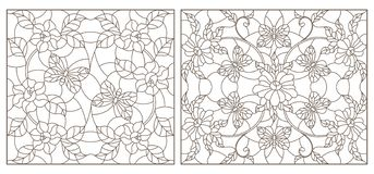 Contour set with  illustrations of stained-glass Windows with flowers and butterflies,  darrk contour on white background. Set of contour illustrations of royalty free illustration