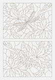 Set contour illustrations of the stained glass Windows with flowers and insects Royalty Free Stock Photo