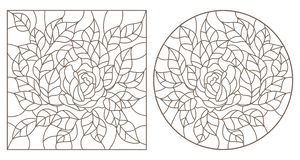 Contour set with   illustrations of stained glass Windows with flowers, roses and leaves , dark contours on white background. Set of contour illustrations of royalty free illustration