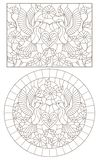 Contour set with  illustrations of stained glass Windows with Hummingbird birds, heart flowers, dark contours on a white backgroun. A set of contour vector illustration
