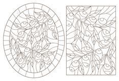 Stained glass illustration with olive branches, rectangular and oval image, dark contours on a white background. Set of contour illustrations of stained glass royalty free illustration