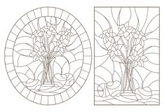 Contour set with  illustrations of stained glass Windows with still lifes, bouquets of daffodils and fruits, dark contours on a wh. A set of contour royalty free illustration