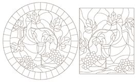 Contour set with  illustrations of stained glass Windows with still lifes,jug and fruit, dark contours on a white background. Set of contour illustrations of vector illustration
